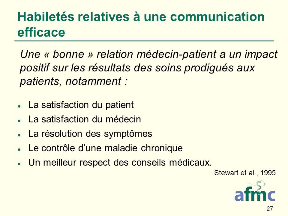 27 Habiletés relatives à une communication efficace La satisfaction du patient La satisfaction du médecin La résolution des symptômes Le contrôle dune