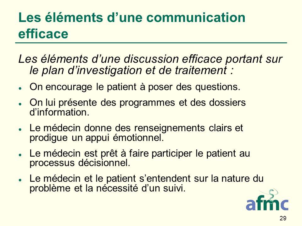 29 Les éléments dune discussion efficace portant sur le plan dinvestigation et de traitement : On encourage le patient à poser des questions. On lui p
