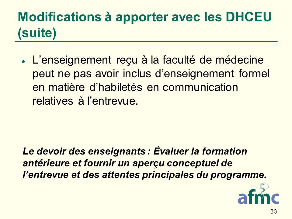 33 Modifications à apporter avec les DHCEU (suite) Lenseignement reçu à la faculté de médecine peut ne pas avoir inclus denseignement formel en matièr