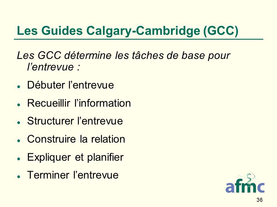 36 Les Guides Calgary-Cambridge (GCC) Les GCC détermine les tâches de base pour lentrevue : Débuter lentrevue Recueillir linformation Structurer lentr