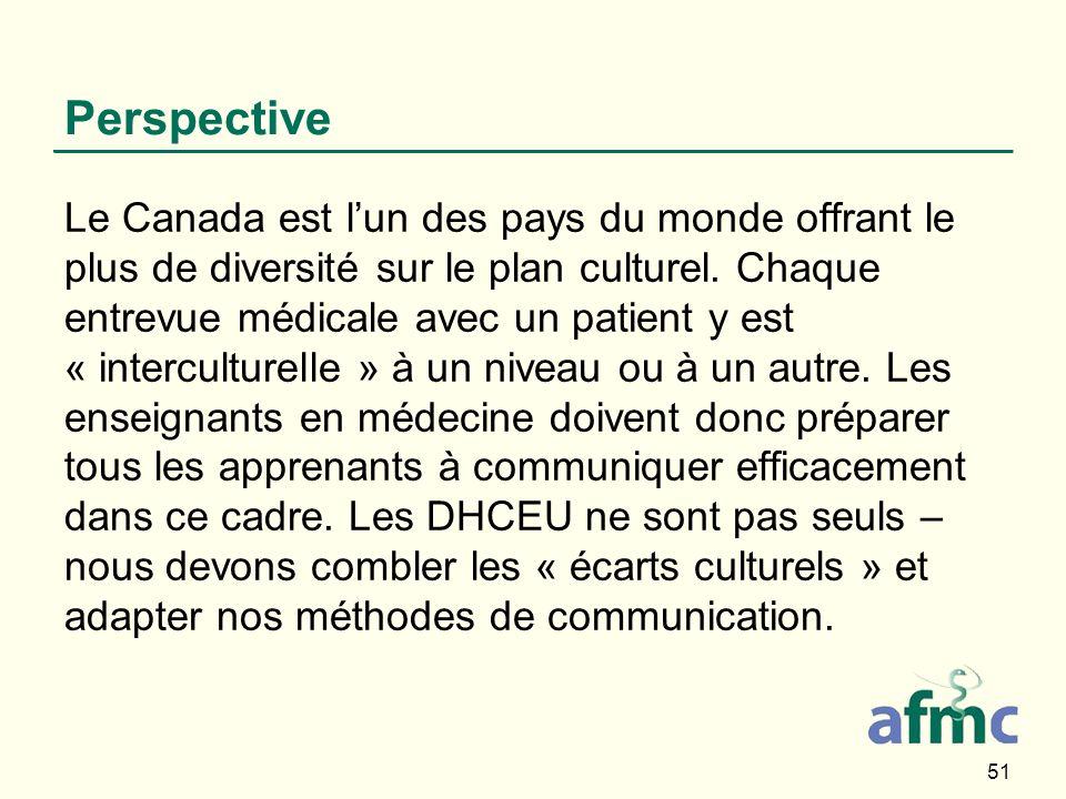 51 Perspective Le Canada est lun des pays du monde offrant le plus de diversité sur le plan culturel. Chaque entrevue médicale avec un patient y est «