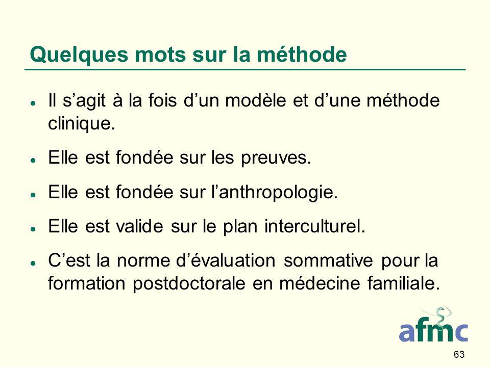 63 Quelques mots sur la méthode Il sagit à la fois dun modèle et dune méthode clinique. Elle est fondée sur les preuves. Elle est fondée sur lanthropo