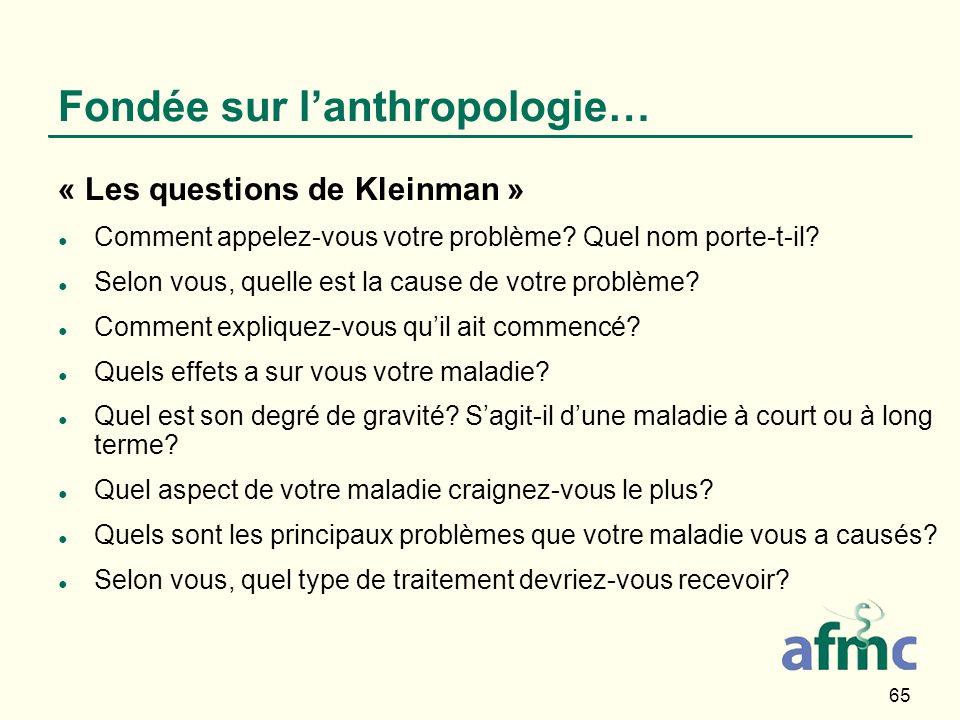 65 Fondée sur lanthropologie… « Les questions de Kleinman » Comment appelez-vous votre problème? Quel nom porte-t-il? Selon vous, quelle est la cause