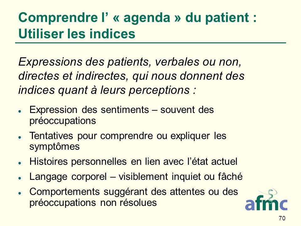 70 Comprendre l « agenda » du patient : Utiliser les indices Expressions des patients, verbales ou non, directes et indirectes, qui nous donnent des i