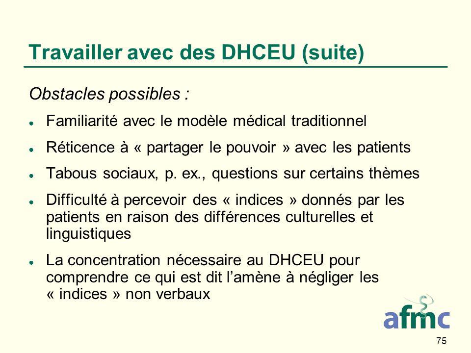 75 Travailler avec des DHCEU (suite) Obstacles possibles : Familiarité avec le modèle médical traditionnel Réticence à « partager le pouvoir » avec le