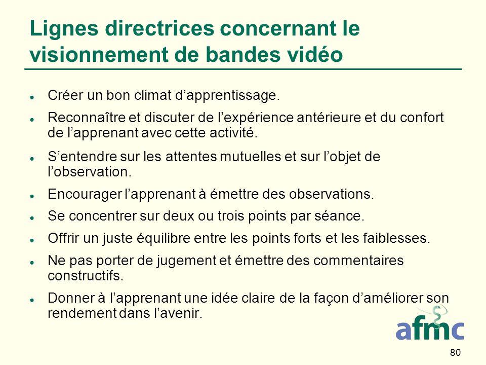 80 Lignes directrices concernant le visionnement de bandes vidéo Créer un bon climat dapprentissage. Reconnaître et discuter de lexpérience antérieure