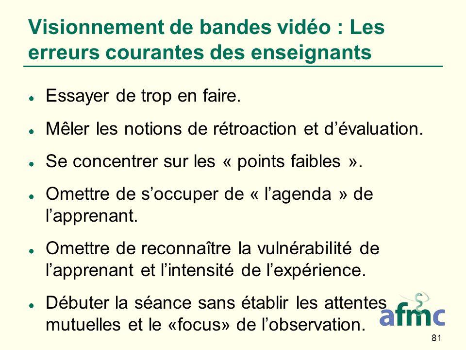 81 Visionnement de bandes vidéo : Les erreurs courantes des enseignants Essayer de trop en faire. Mêler les notions de rétroaction et dévaluation. Se