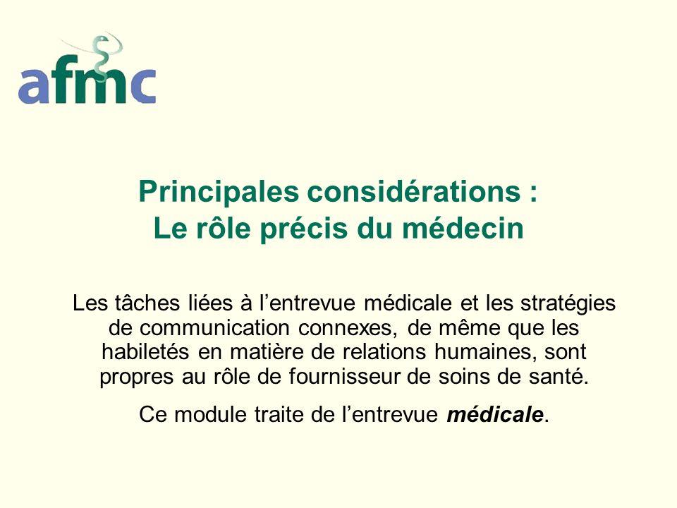 Principales considérations : Le rôle précis du médecin Les tâches liées à lentrevue médicale et les stratégies de communication connexes, de même que
