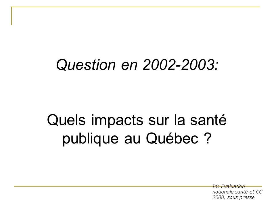 In: Évaluation nationale santé et CC 2008, sous presse Question en 2002-2003: Quels impacts sur la santé publique au Québec ?