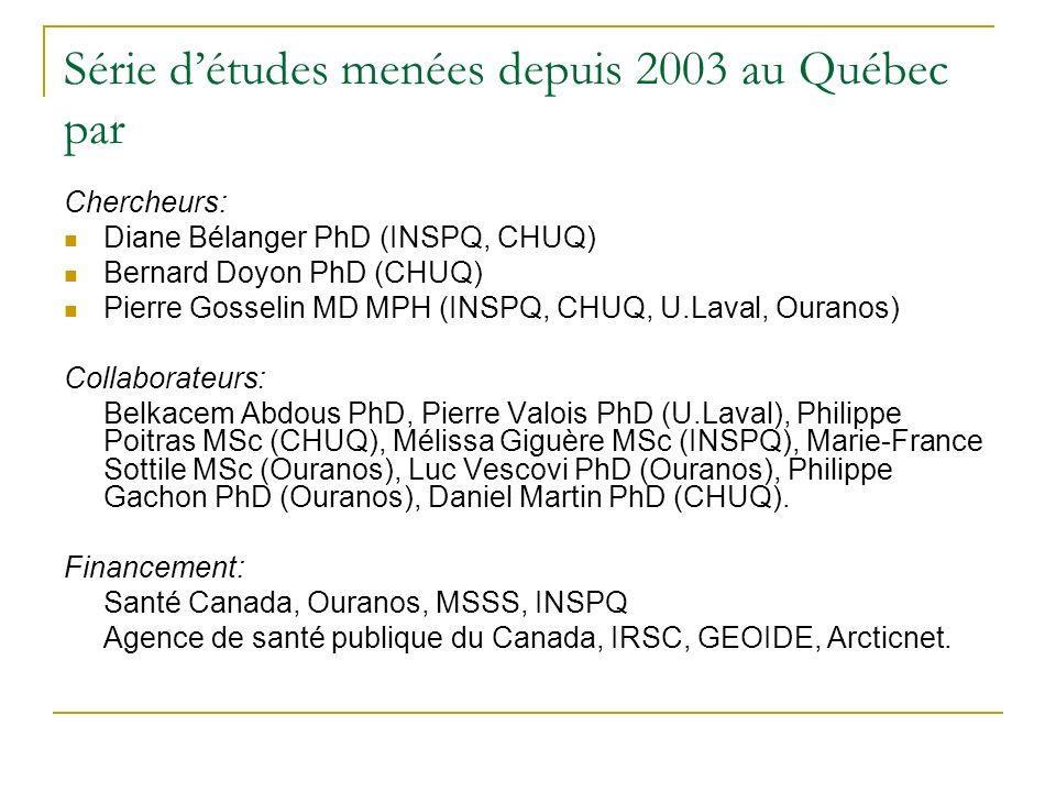 Série détudes menées depuis 2003 au Québec par Chercheurs: Diane Bélanger PhD (INSPQ, CHUQ) Bernard Doyon PhD (CHUQ) Pierre Gosselin MD MPH (INSPQ, CHUQ, U.Laval, Ouranos) Collaborateurs: Belkacem Abdous PhD, Pierre Valois PhD (U.Laval), Philippe Poitras MSc (CHUQ), Mélissa Giguère MSc (INSPQ), Marie-France Sottile MSc (Ouranos), Luc Vescovi PhD (Ouranos), Philippe Gachon PhD (Ouranos), Daniel Martin PhD (CHUQ).