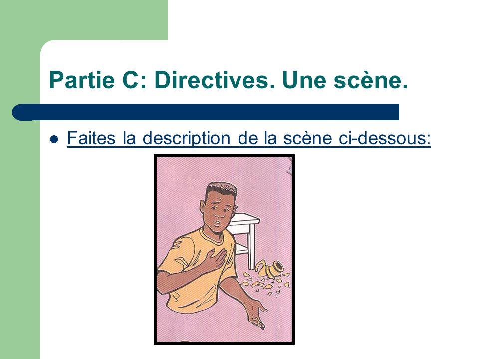 Partie C: Directives. Une scène. Faites la description de la scène ci-dessous: