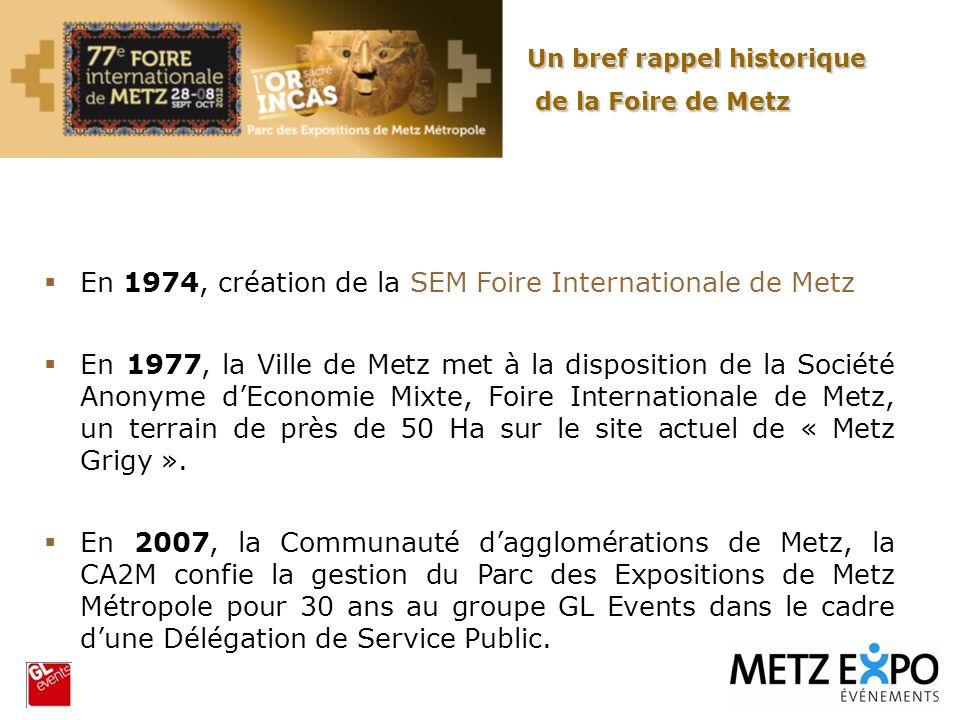 En 1974, création de la SEM Foire Internationale de Metz En 1977, la Ville de Metz met à la disposition de la Société Anonyme dEconomie Mixte, Foire I