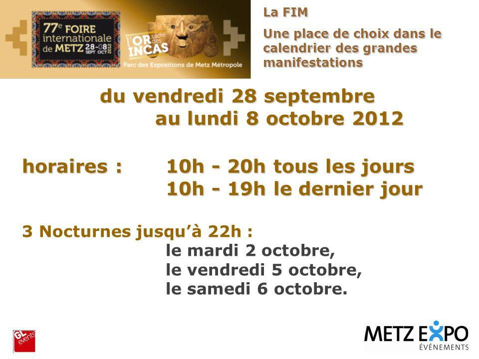 du vendredi 28 septembre au lundi 8 octobre 2012 au lundi 8 octobre 2012 horaires : 10h - 20h tous les jours 10h - 19h le dernier jour 3 Nocturnes jus