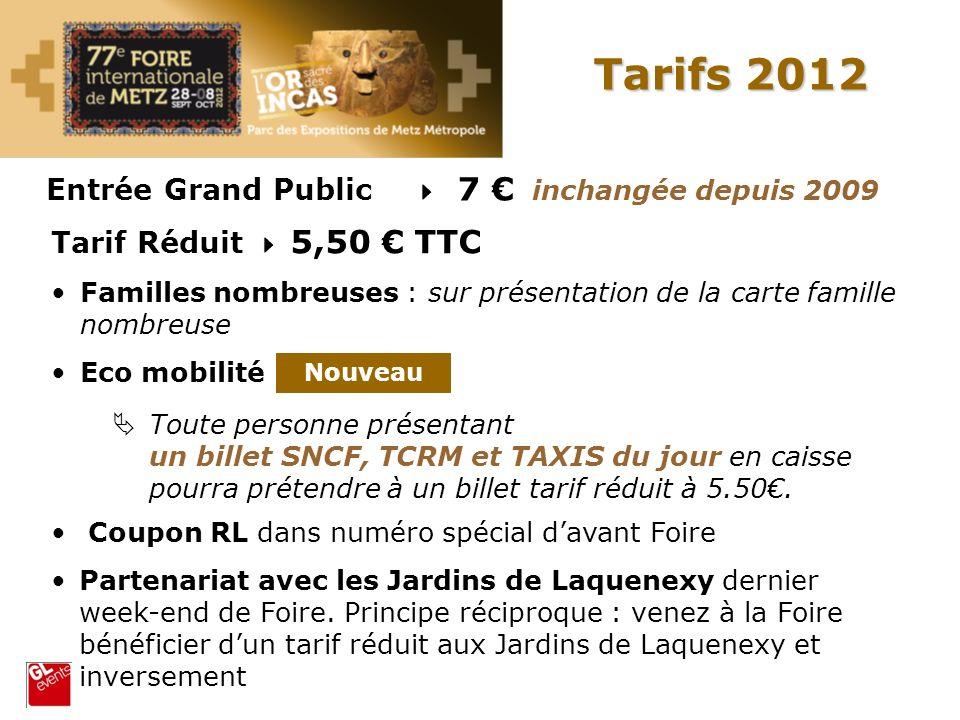Tarifs 2012 Entrée Grand Public 7 inchangée depuis 2009 Tarif Réduit 5,50 TTC Familles nombreuses : sur présentation de la carte famille nombreuse Eco