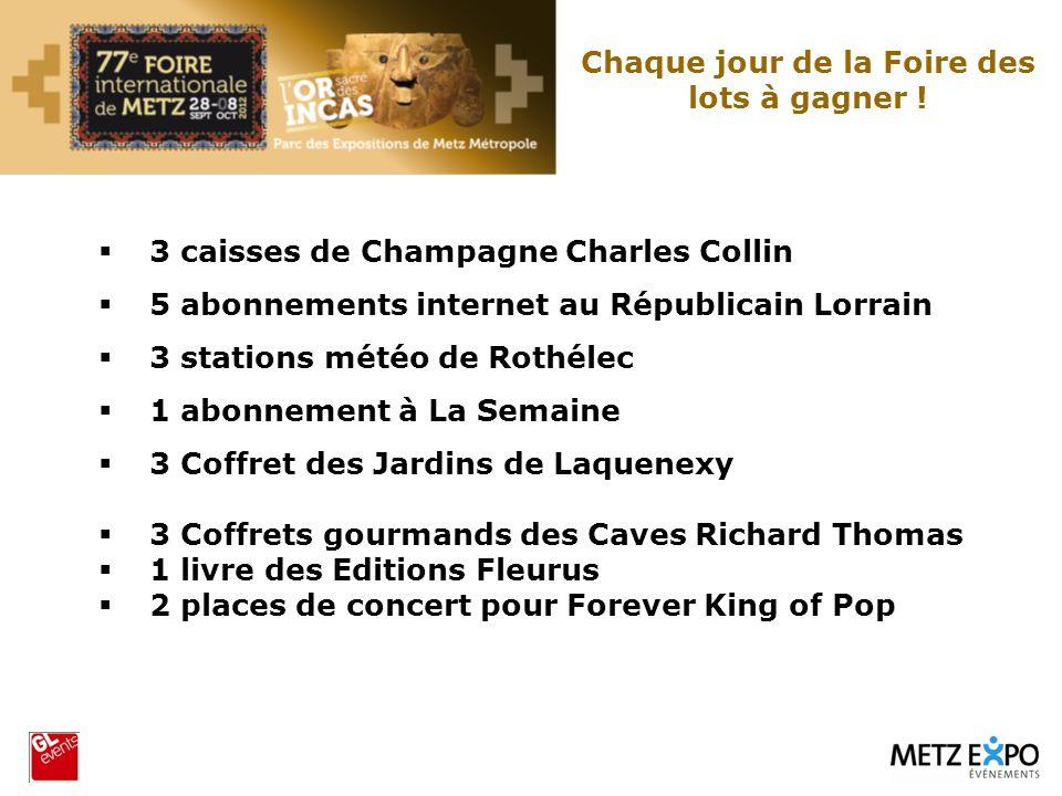 3 caisses de Champagne Charles Collin 5 abonnements internet au Républicain Lorrain 3 stations météo de Rothélec 1 abonnement à La Semaine 3 Coffret d