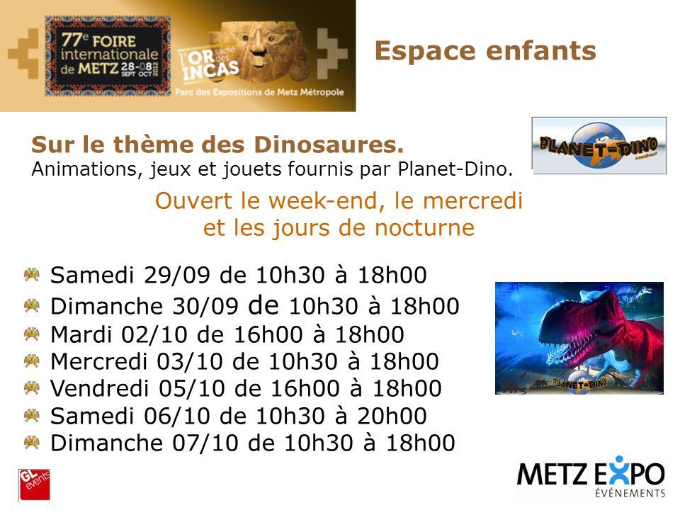 Espace enfants Sur le thème des Dinosaures. Animations, jeux et jouets fournis par Planet-Dino. Ouvert le week-end, le mercredi et les jours de noctur