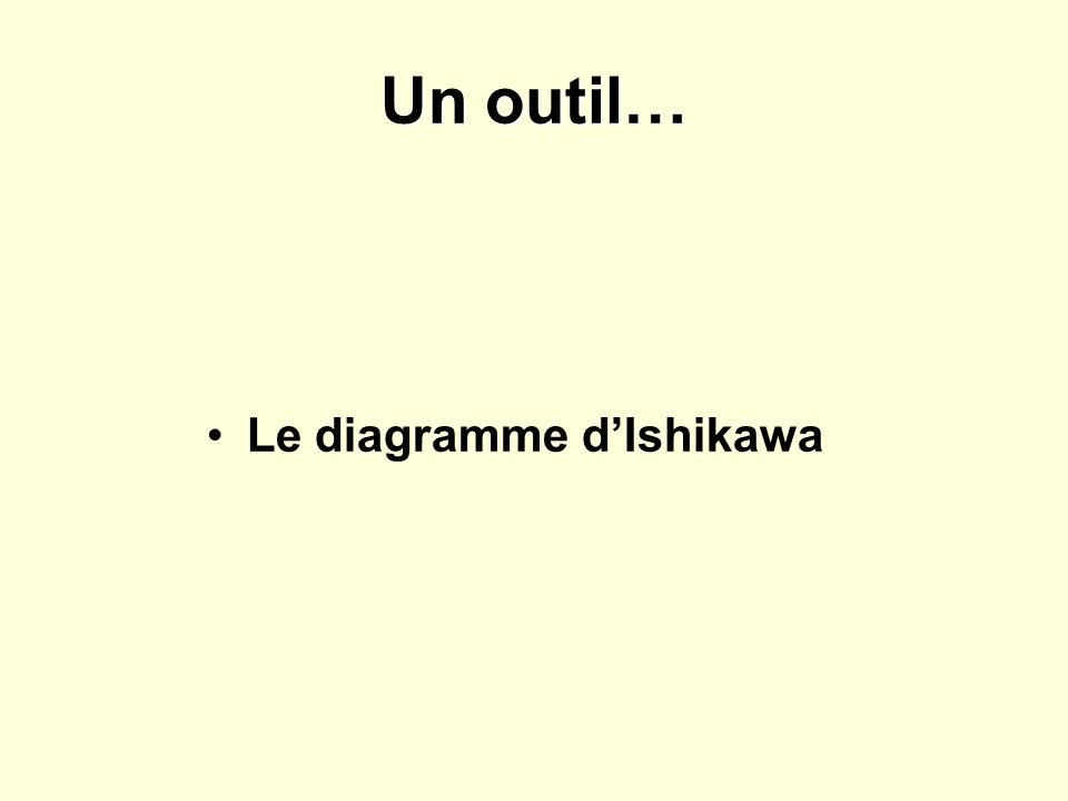 Un outil… Le diagramme dIshikawa