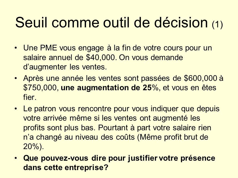 Seuil comme outil de décision (1) Une PME vous engage à la fin de votre cours pour un salaire annuel de $40,000.