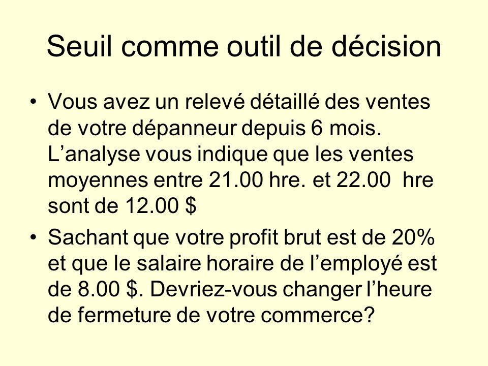 Seuil comme outil de décision Vous avez un relevé détaillé des ventes de votre dépanneur depuis 6 mois.