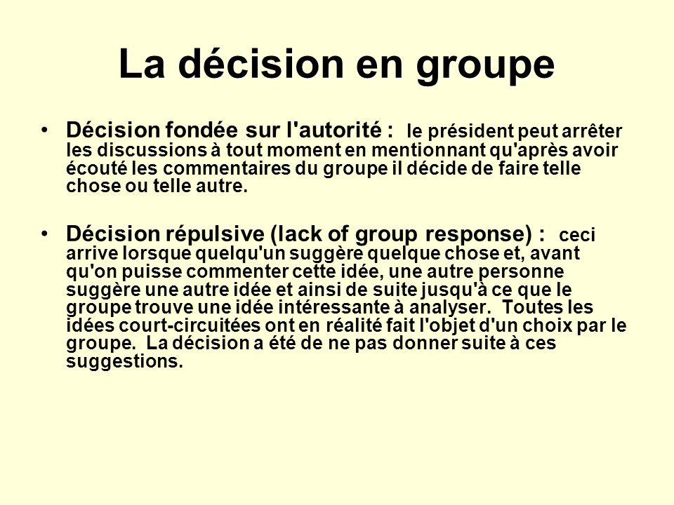 La décision en groupe Décision fondée sur l autorité : le président peut arrêter les discussions à tout moment en mentionnant qu après avoir écouté les commentaires du groupe il décide de faire telle chose ou telle autre.