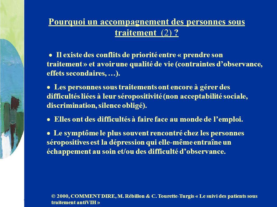 Pourquoi un accompagnement des personnes sous traitement (2) ? Il existe des conflits de priorité entre « prendre son traitement » et avoir une qualit
