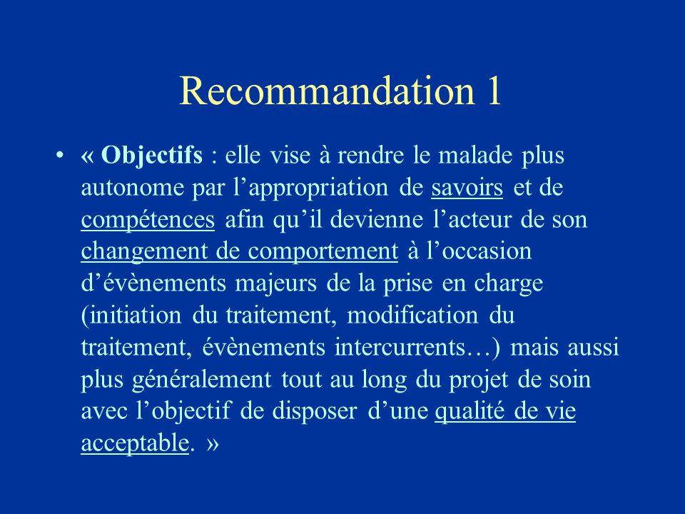 Recommandation 1 « Objectifs : elle vise à rendre le malade plus autonome par lappropriation de savoirs et de compétences afin quil devienne lacteur d
