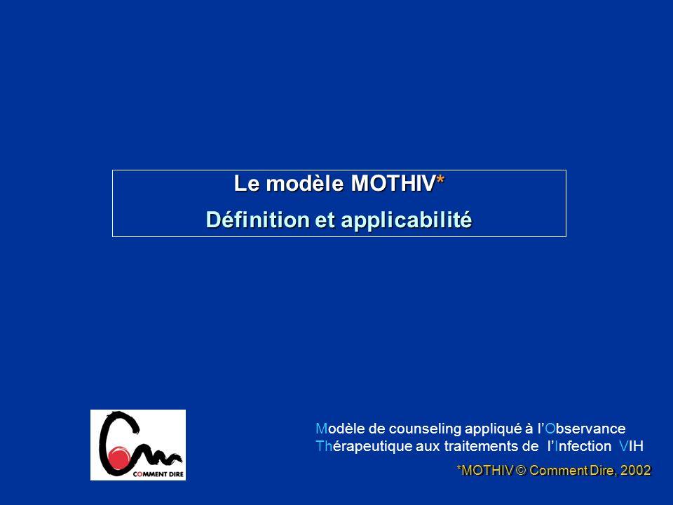 Le modèle MOTHIV* Définition et applicabilité *MOTHIV © Comment Dire, 2002 Modèle de counseling appliqué à lObservance Thérapeutique aux traitements d