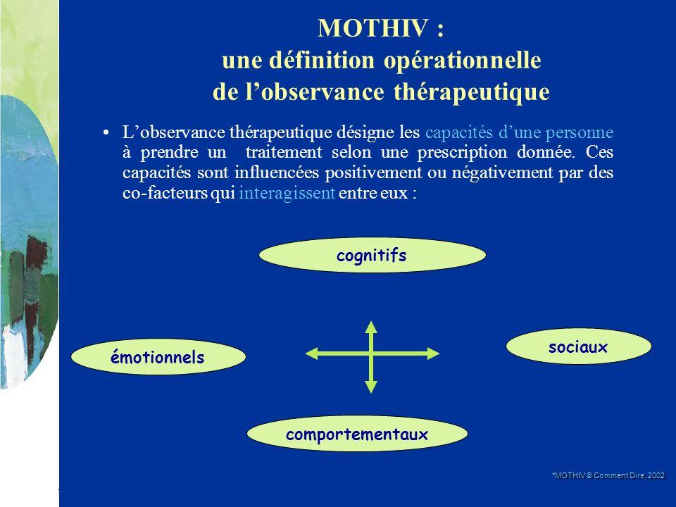 MOTHIV : une définition opérationnelle de lobservance thérapeutique Lobservance thérapeutique désigne les capacités dune personne à prendre un traitem