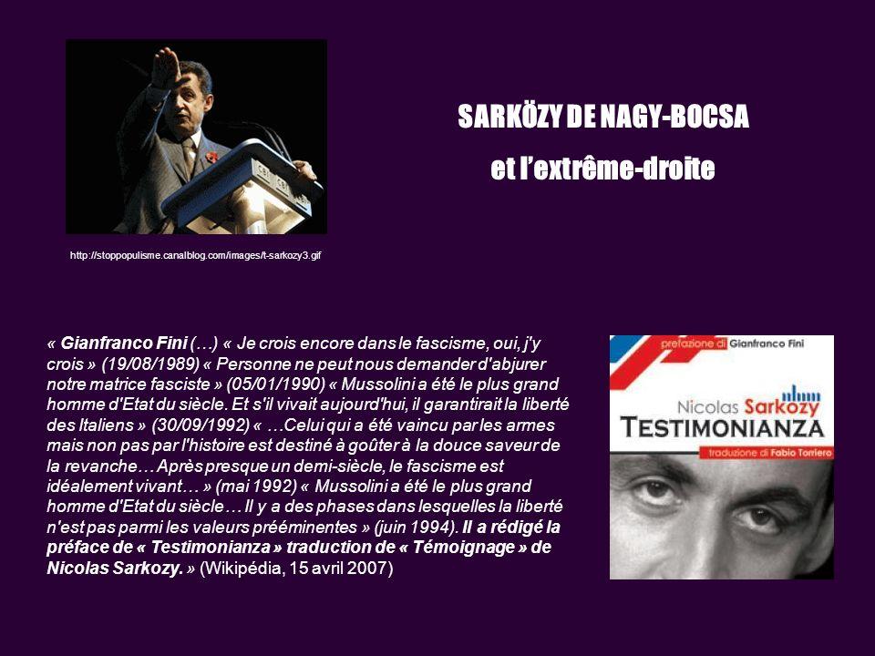 http://stoppopulisme.canalblog.com/images/t-sarkozy3.gif SARKÖZY DE NAGY-BOCSA et lextrême-droite « Gianfranco Fini (…) « Je crois encore dans le fascisme, oui, j y crois » (19/08/1989) « Personne ne peut nous demander d abjurer notre matrice fasciste » (05/01/1990) « Mussolini a été le plus grand homme d Etat du siècle.