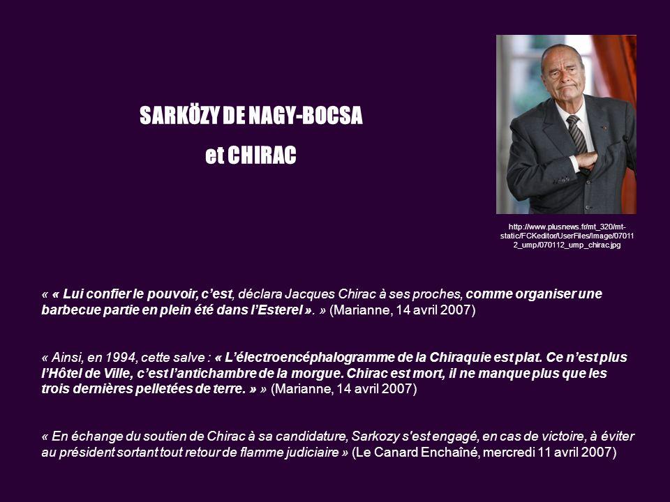 http://www.plusnews.fr/mt_320/mt- static/FCKeditor/UserFiles/Image/07011 2_ump/070112_ump_chirac.jpg SARKÖZY DE NAGY-BOCSA et CHIRAC « « Lui confier le pouvoir, cest, déclara Jacques Chirac à ses proches, comme organiser une barbecue partie en plein été dans lEsterel ».