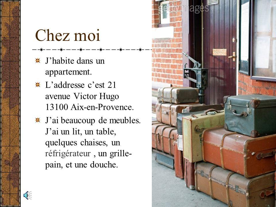 Chez moi Jhabite dans un appartement.Laddresse cest 21 avenue Victor Hugo 13100 Aix-en-Provence.