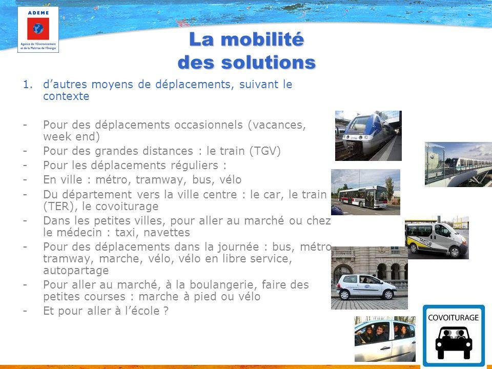 La mobilité des solutions 1.dautres moyens de déplacements, suivant le contexte -Pour des déplacements occasionnels (vacances, week end) -Pour des gra