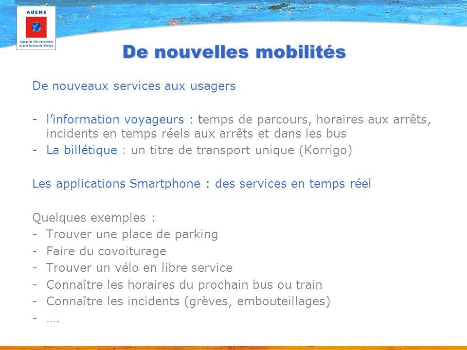 De nouvelles mobilités De nouveaux services aux usagers -linformation voyageurs : temps de parcours, horaires aux arrêts, incidents en temps réels aux
