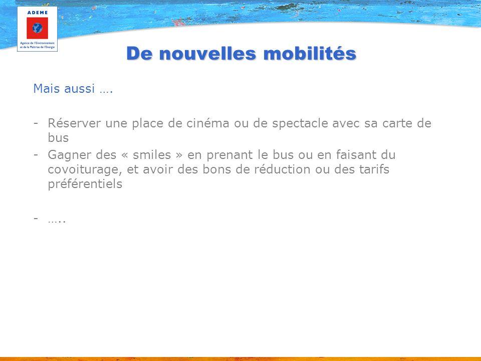 De nouvelles mobilités Mais aussi …. -Réserver une place de cinéma ou de spectacle avec sa carte de bus -Gagner des « smiles » en prenant le bus ou en