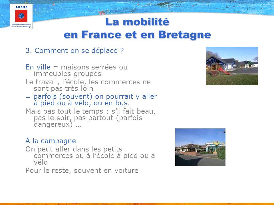 La mobilité en France et en Bretagne 3. Comment on se déplace ? En ville = maisons serrées ou immeubles groupés Le travail, lécole, les commerces ne s
