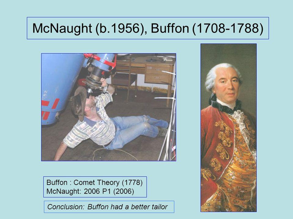 McNaught (b.1956), Buffon (1708-1788) Buffon : Comet Theory (1778) McNaught: 2006 P1 (2006) Conclusion: Buffon had a better tailor