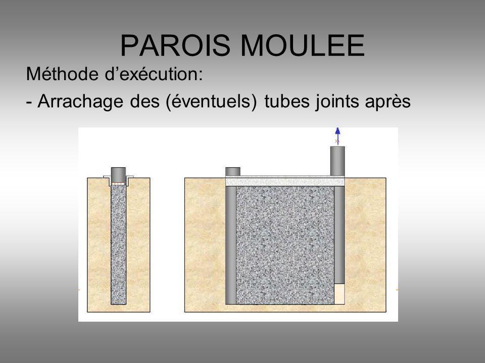 Méthode dexécution: - Arrachage des (éventuels) tubes joints après PAROIS MOULEE