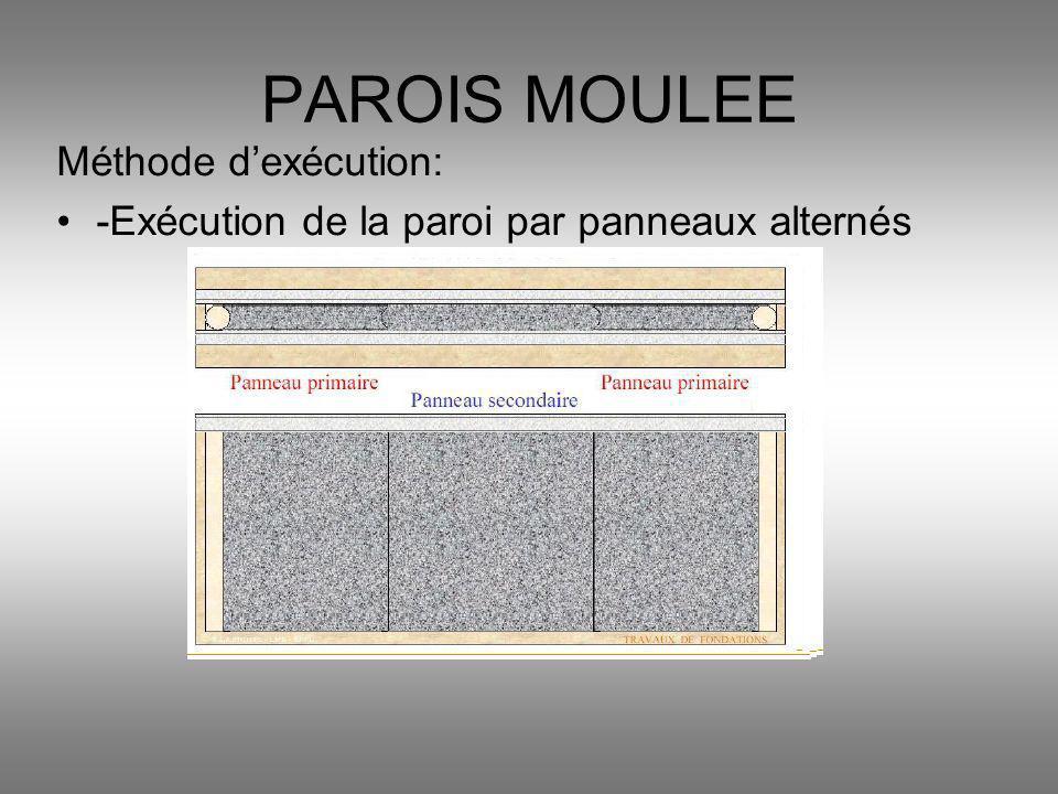 Méthode dexécution: -Exécution de la paroi par panneaux alternés PAROIS MOULEE