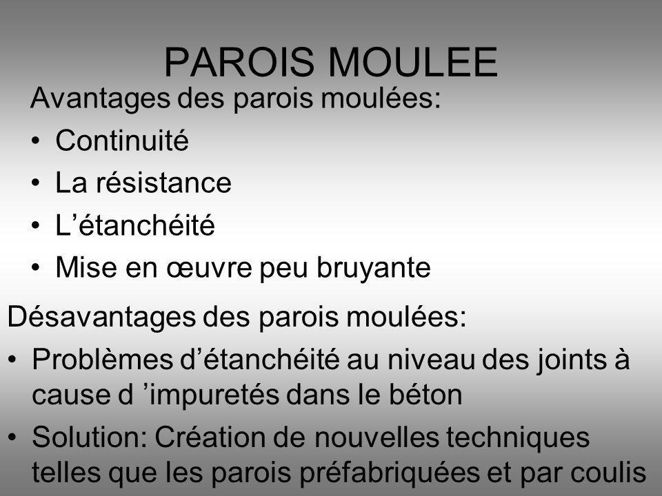 Avantages des parois moulées: Continuité La résistance Létanchéité Mise en œuvre peu bruyante PAROIS MOULEE Désavantages des parois moulées: Problèmes