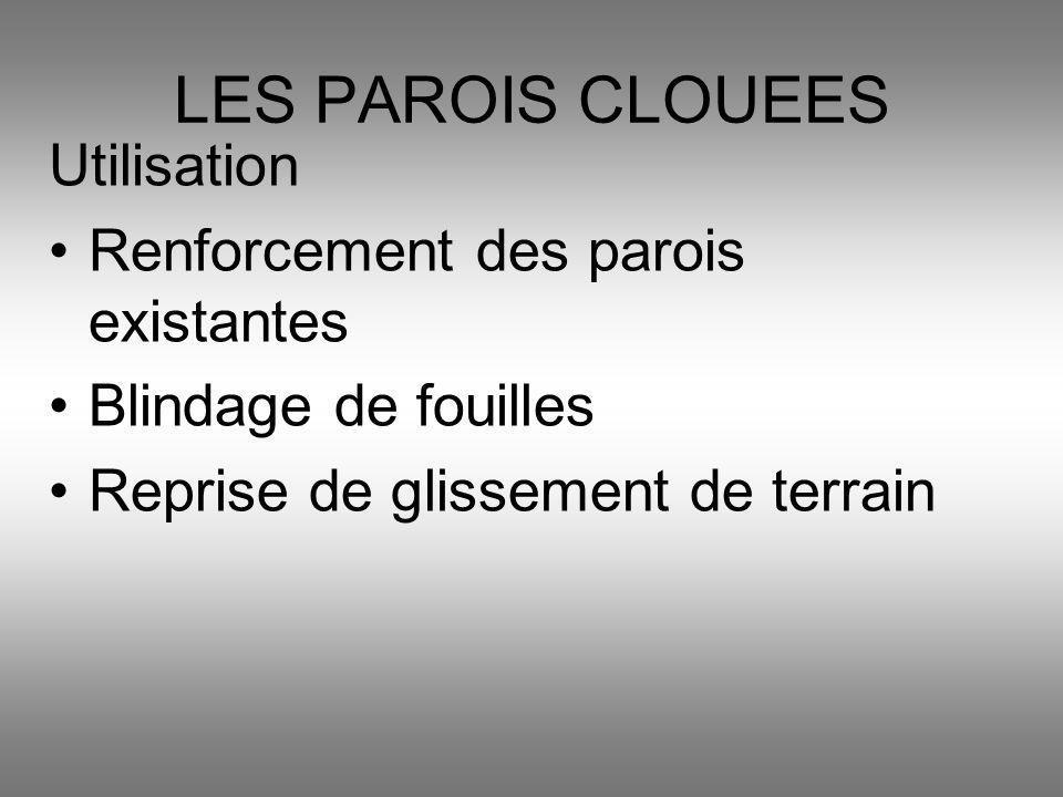 Utilisation Renforcement des parois existantes Blindage de fouilles Reprise de glissement de terrain LES PAROIS CLOUEES