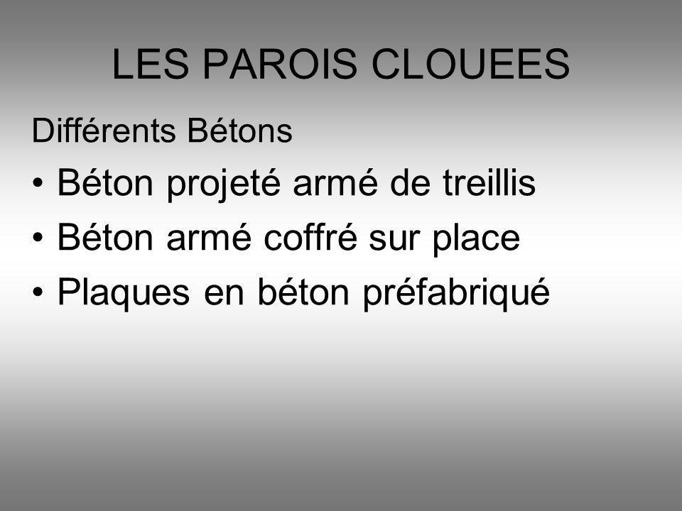 Différents Bétons Béton projeté armé de treillis Béton armé coffré sur place Plaques en béton préfabriqué LES PAROIS CLOUEES