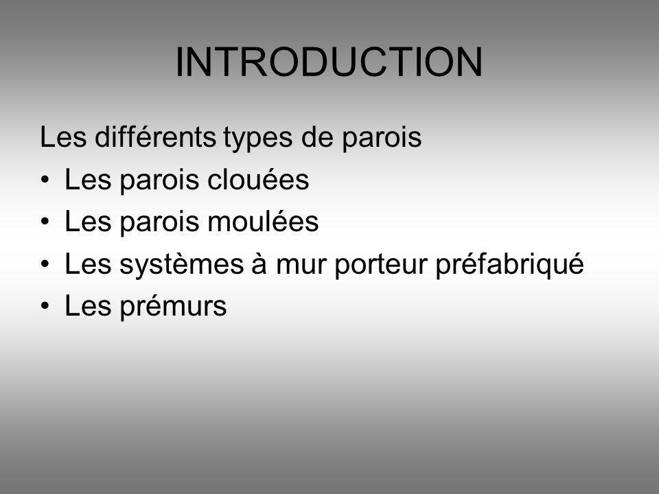 INTRODUCTION Les différents types de parois Les parois clouées Les parois moulées Les systèmes à mur porteur préfabriqué Les prémurs