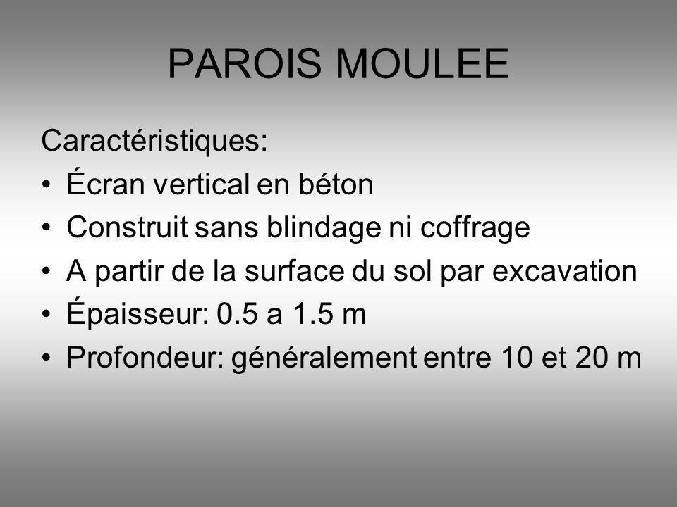 PAROIS MOULEE Caractéristiques: Écran vertical en béton Construit sans blindage ni coffrage A partir de la surface du sol par excavation Épaisseur: 0.