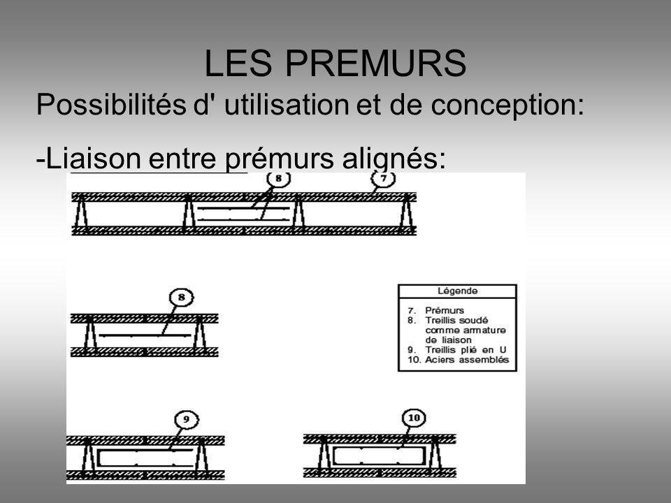 LES PREMURS Possibilités d' utilisation et de conception: -Liaison entre prémurs alignés:
