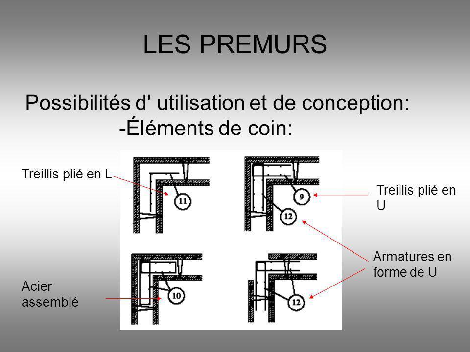 LES PREMURS Possibilités d' utilisation et de conception: -Éléments de coin: Treillis plié en L Acier assemblé Treillis plié en U Armatures en forme d