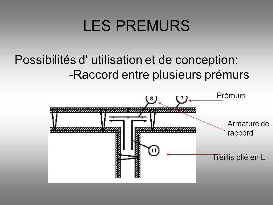 LES PREMURS Possibilités d' utilisation et de conception: -Raccord entre plusieurs prémurs Prémurs Armature de raccord Treillis plié en L