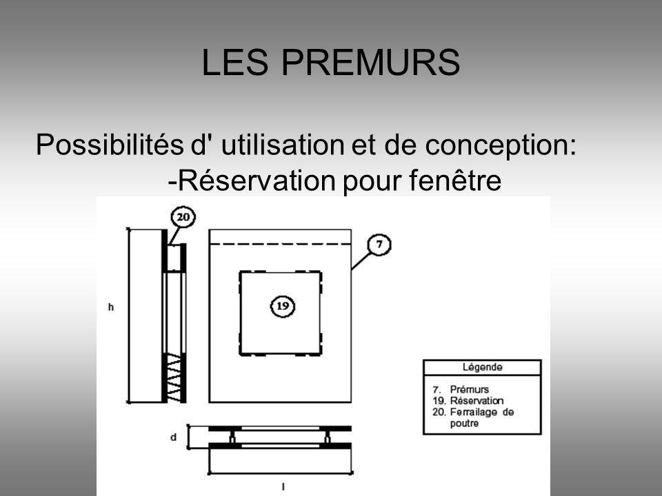 LES PREMURS Possibilités d' utilisation et de conception: -Réservation pour fenêtre