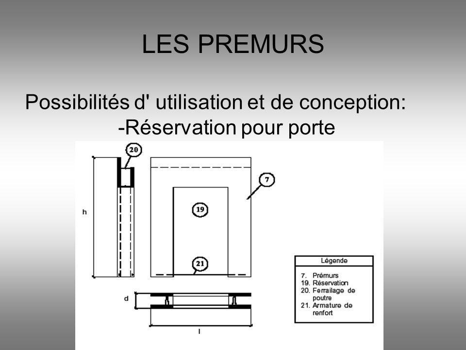 LES PREMURS Possibilités d' utilisation et de conception: -Réservation pour porte