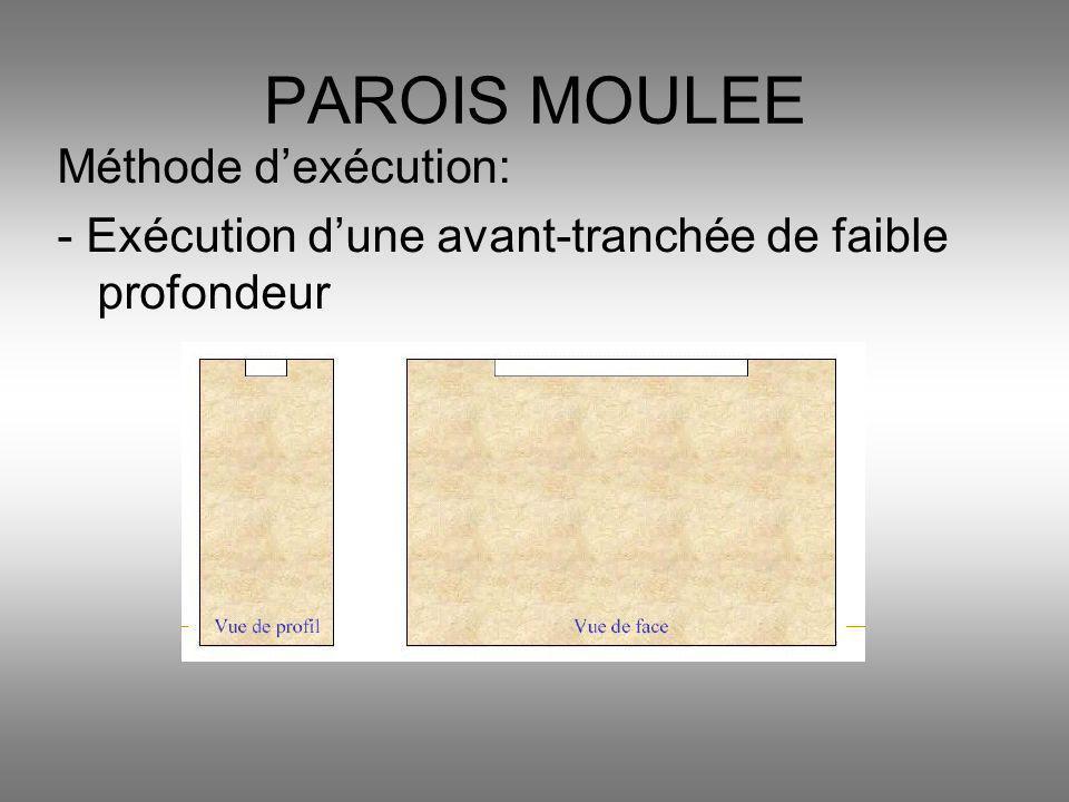 Méthode dexécution: - Exécution dune avant-tranchée de faible profondeur PAROIS MOULEE