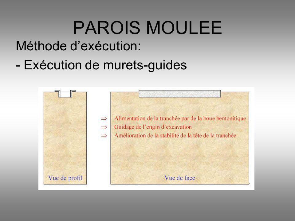 Méthode dexécution: - Exécution de murets-guides PAROIS MOULEE